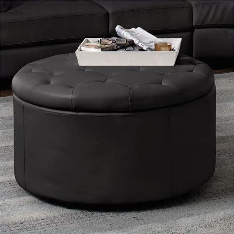 Coaster Storage Ottoman Landen 5 Leather Storage Cocktail Ottoman In Black 501105