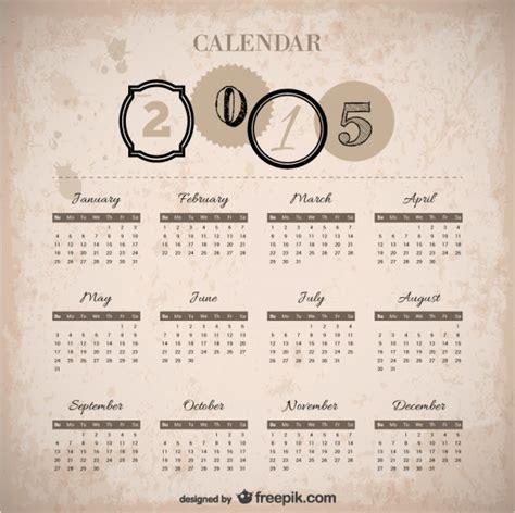Calendario Retro Vintage 2015 Calendar Vector Free