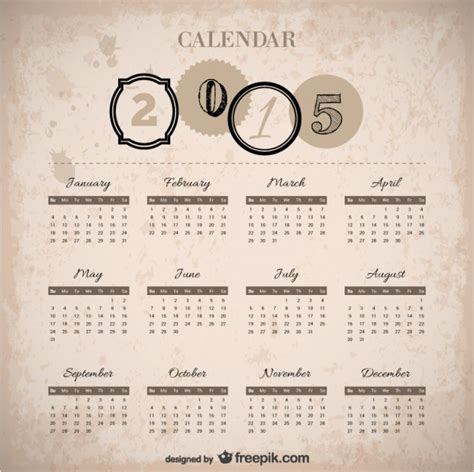 Vintage 2015 calendar Vector   Free Download