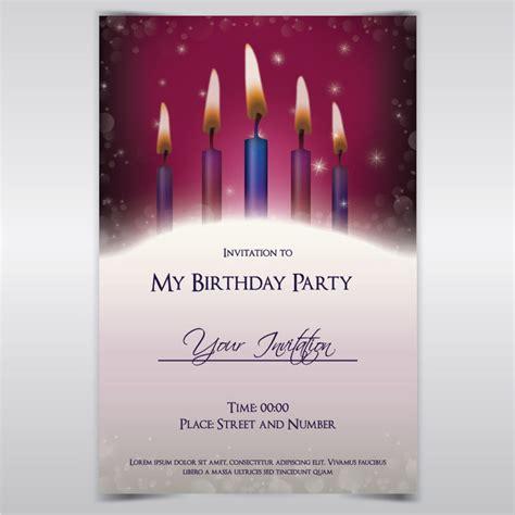 Free Vectors Candle Light Birthday Invitation Template Vector Background Candle Invitations Templates