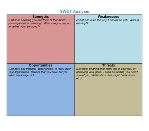 swot analysis template pdf sle swot analysis 13 documents in word pdf