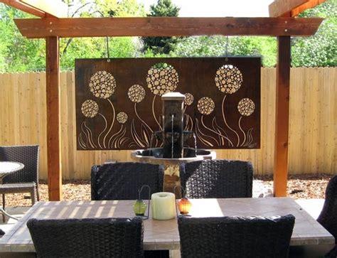 outdoor allium steel panel with rust patina