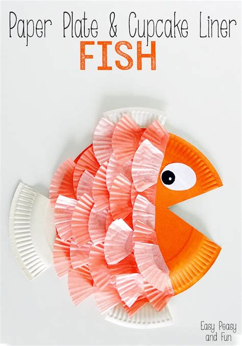 Paper Plate Fish Craft - paper plate cupcake liner fish easy peasy and