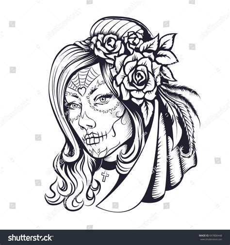 beautiful hair coloring pages day dead makeup girl flowers hair stock vector 697800448