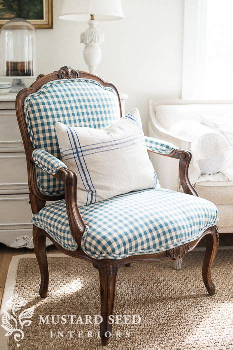 Vs Mx Mustard reupholstered antique chair in checks miss