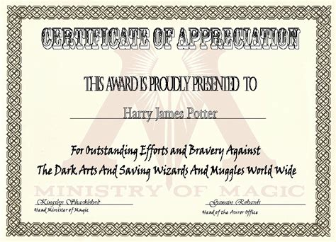 Minister License Id Card Template by Ministry Of Magic Certificate Of Appreciation By