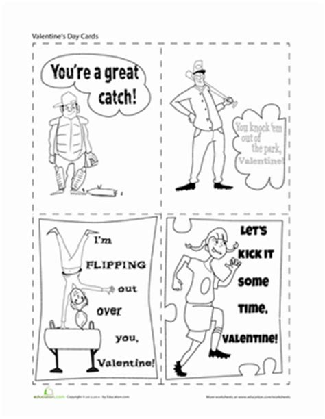 simple s day card activities with templates for 6th graders sports valentines worksheet education