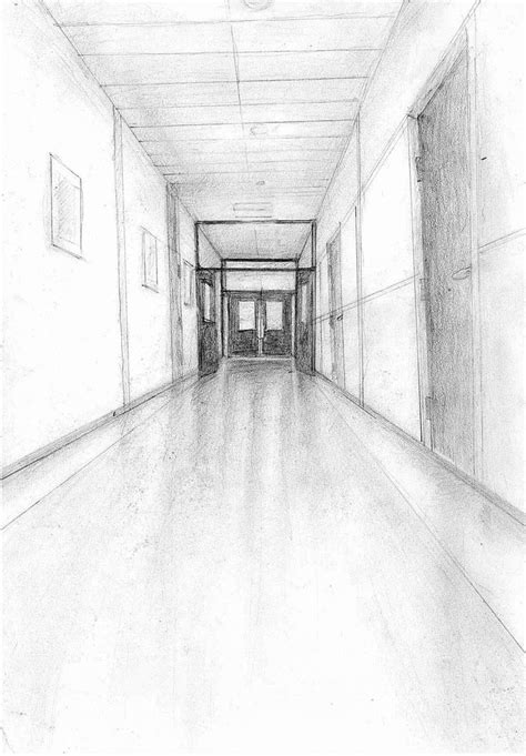 Sketches School by Drawing Corridor Hallway School Doors Drawings