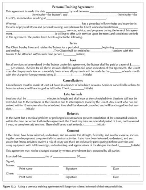personal forms templates personal trainer forms free printable documents