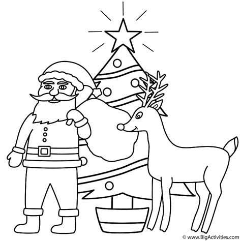 santa claus with rudolph and christmas tree coloring