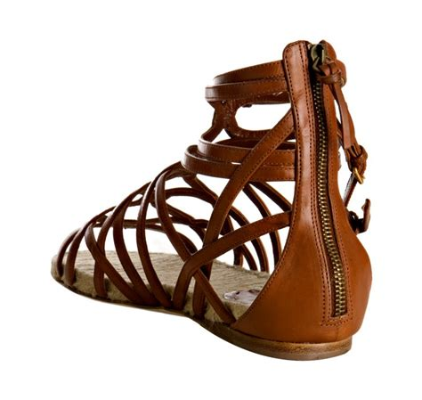 brown strappy flat sandals miu miu brown strappy leather flat gladiator sandals in
