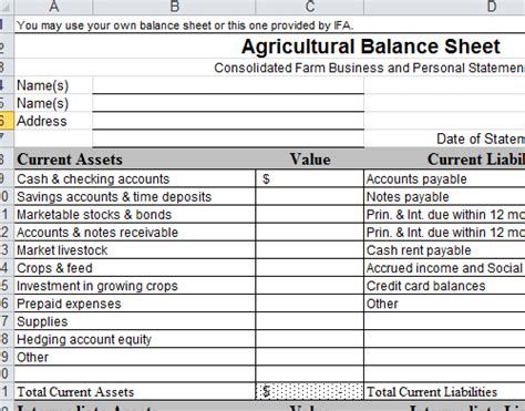 farm balance sheet template excel personal balance sheet