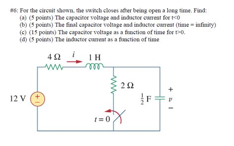 capacitor switch questions 6 for the circuit shown the switch closes after chegg