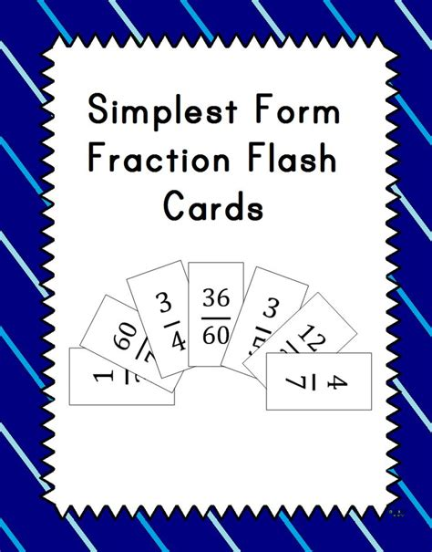 simplest form fraction flash cards blank cards plays
