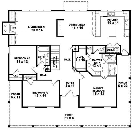 3 Story House Plan by One Story House Plans With 3 Bedrooms E Story 3