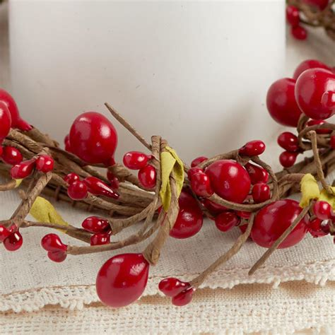 candle ring snow red berries berry candle ring pip berries floral supplies craft supplies