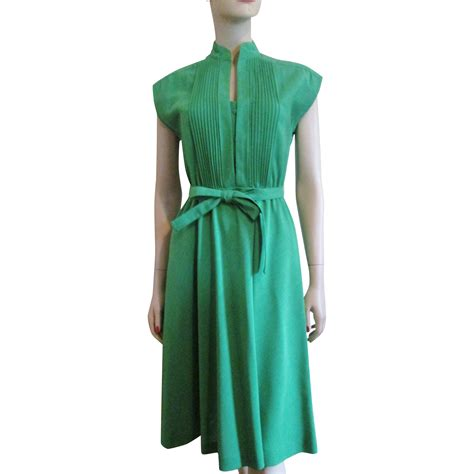 green linen day dress vintage 1960s womens clothing
