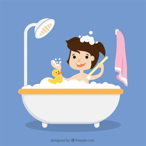 How To Take Bath In Bathtub by Taking A Bath With Vector Free