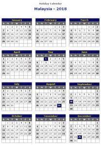 Calendar 2018 With Holidays In Malaysia Malaysia 2018 Printable Calendar 171 Printable Hub