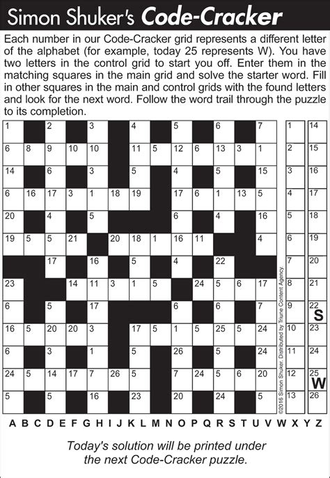 Auto Loan Letters Crossword Clue code cracker sle puzzle 1 tribune content agency may