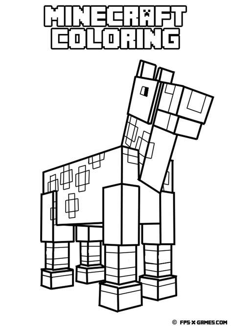 minecraft horse coloring page fpsxgames minecraft coloring app printables