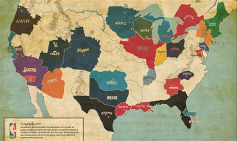 nba team map here s a map of every nba team s fan base in america