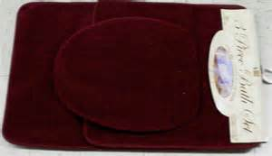 burgundy bath mat set 3 bathroom rug contour lid cover set burgundy ebay