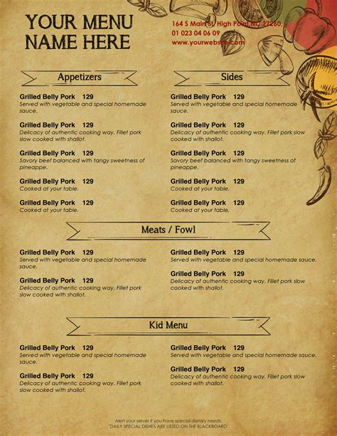 food menu templates for microsoft word design templates menu templates wedding menu food