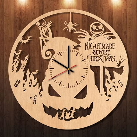 Handmade Wall Clock - the nightmare before pumpkin handmade