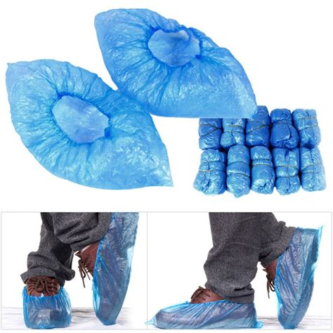 Shoe Plastic Cover 100pcs blue disposable overshoes plastic anti slip shoe