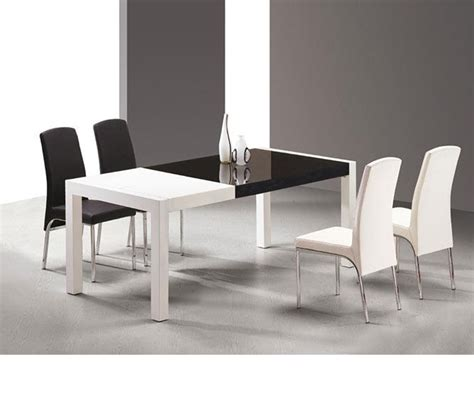 black and white table dreamfurniture com t062 combi white and black lacquer table