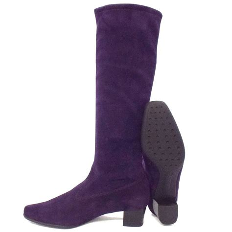 kaiser aila pull on stretch suede purple boots
