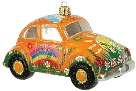 xgp2 0557 yellow hippie car vw bug polish glass christmas