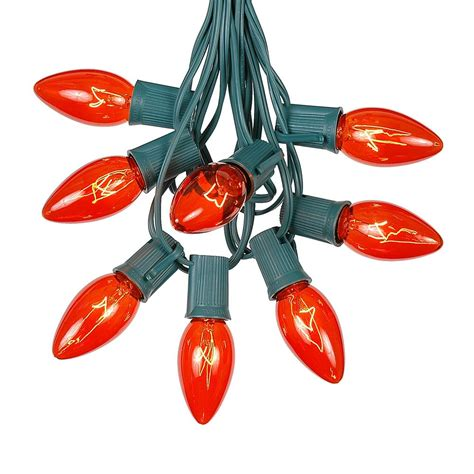100 orange c9 christmas light set on green wire novelty