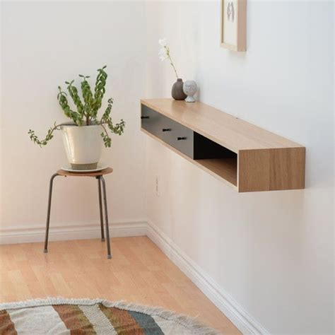 Wall Mounted Entry Table Floating Console Table White Oak Shelf Wall Mounted