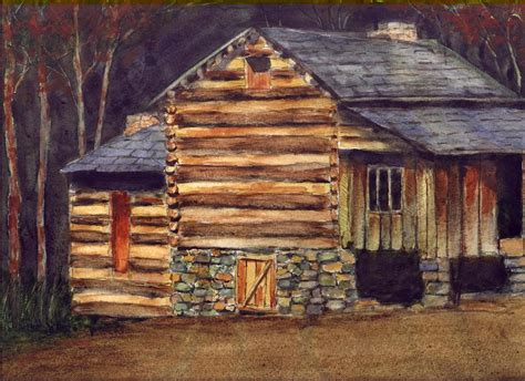 Log Cabin Paintings log cabin painting by helms