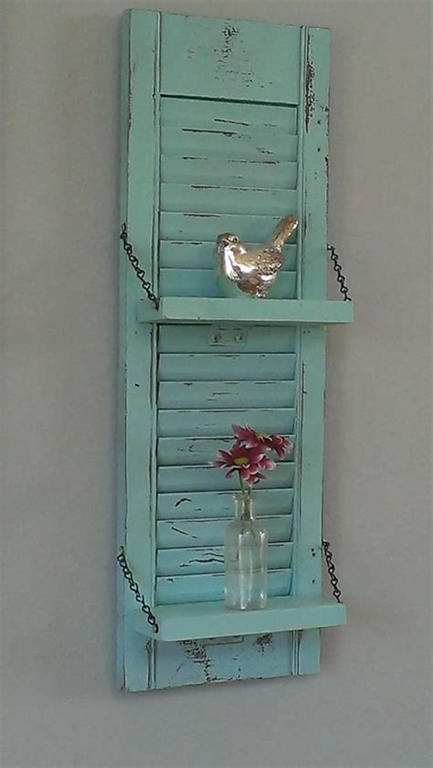 Shutter Wall Decor by Shabby Chic Aqua Robin S Egg Blue Unique White Wood Shutter Shelf Rustic Wall Decor Country