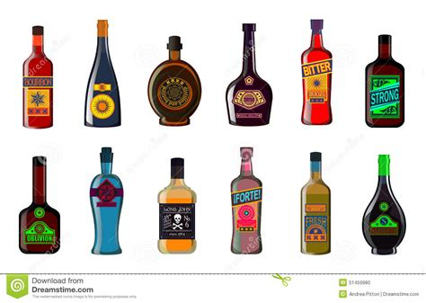 vermouth color liquor bottles set alcoholic beverages whiskey