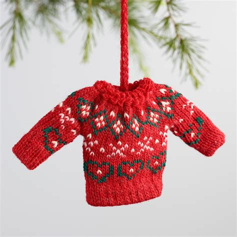 knitting pattern miniature sweater ornament mini knit holiday sweater ornaments set of 3 world market