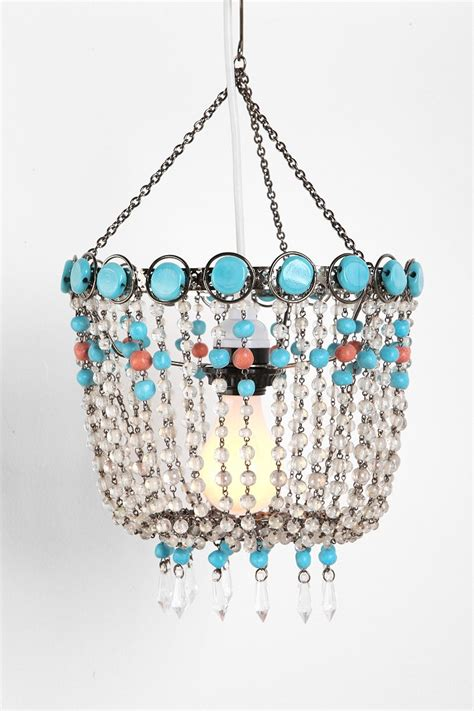 turquoise beaded chandelier turquoise beaded faux chandelier outfitters
