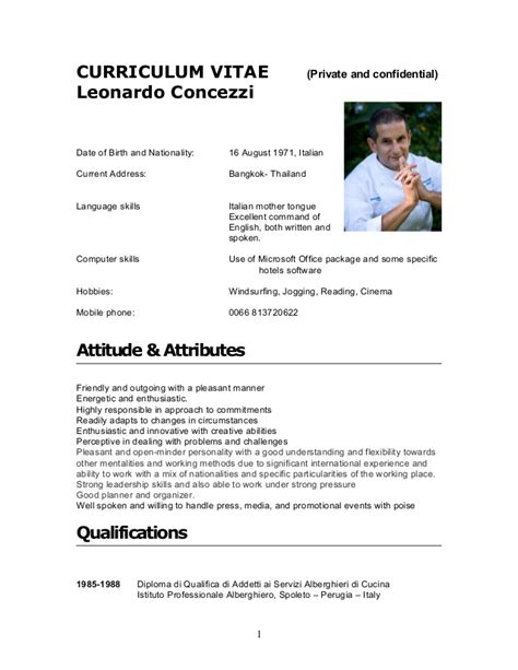 Resume Format Pdf For Hotel Management by Cv Leonardo Concezzi 2012