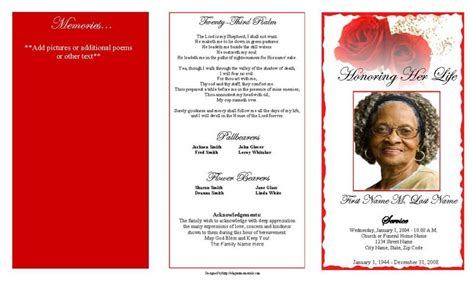 template for funeral program free funeral program template helloalive