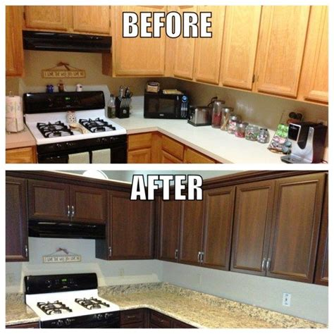stain kitchen cabinets before and after cabinet refinishing angies list