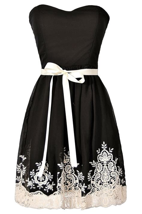 Made Me Ivory And Black Dress black and ivory embroidered strapless dress black
