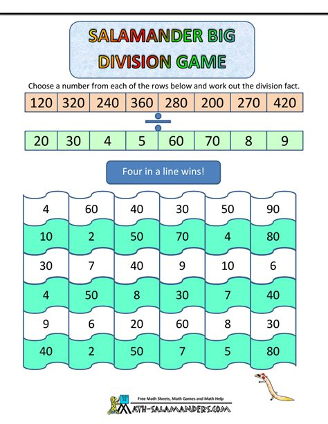 printable games algebra math division games