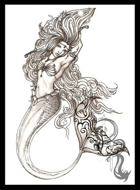 pencil drawings tattoo designs mermaid pencil pencil and in color mermaid