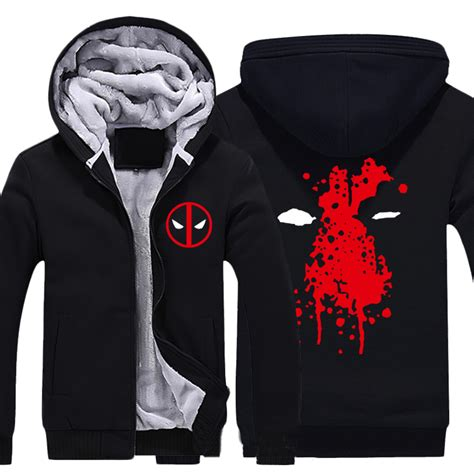 Hoodie Deadpool Dennizzy Clothing 2 mens casual 2016 deadpool hoodies zip up thick