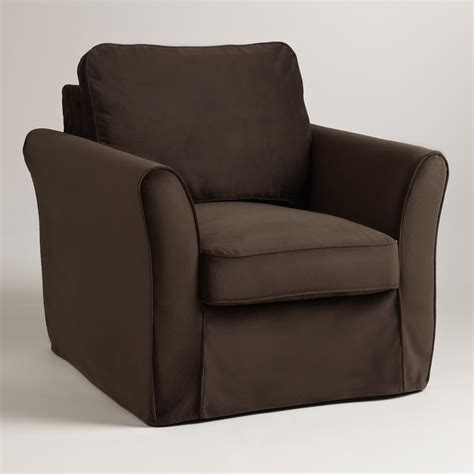 loose fit slipcover chocolate brown velvet loose fit luxe chair slipcover