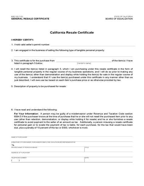 resale certificate request letter template resale certificate california free