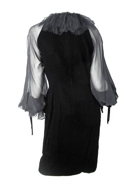 Velvet Sleeve Collar Dress oscar de la renta black velvet dress with chiffon sleeves